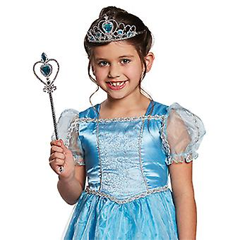 DIADEEM instellen blauwe kinderen 2 PCs tiara toverstaf accessoire carnaval