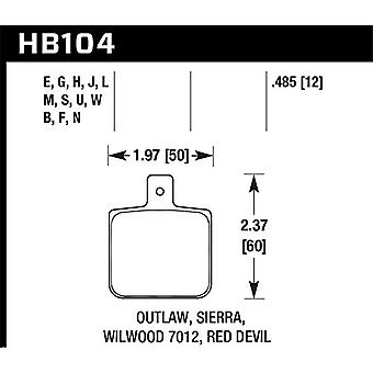Hawk Performance HB104Q.485 Disc Brake Pad DTC-80 w/0.485 Thickness Fits Wilwood DL Single Outlaw w/0.156 in. Center Hol