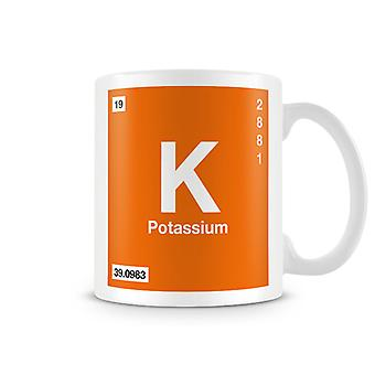 Scientific Printed Mug Featuring Element Symbol 019 K - Potassium
