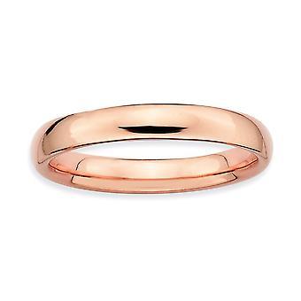 Sterling sølv stabelbare udtryk Pink-belagte poleret Ring - ringstørrelse: 5-10