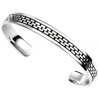 Beginnings Oxidised Square Link Pattern Torque Bangle - Silver