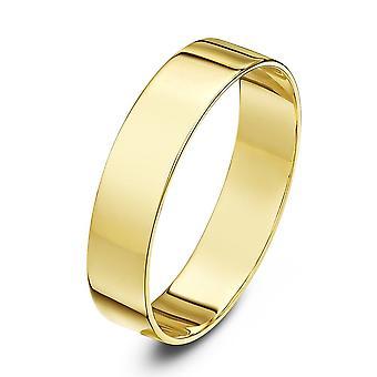 Star Wedding Rings 9ct Yellow Gold Light Flat Shape 5mm Wedding Ring