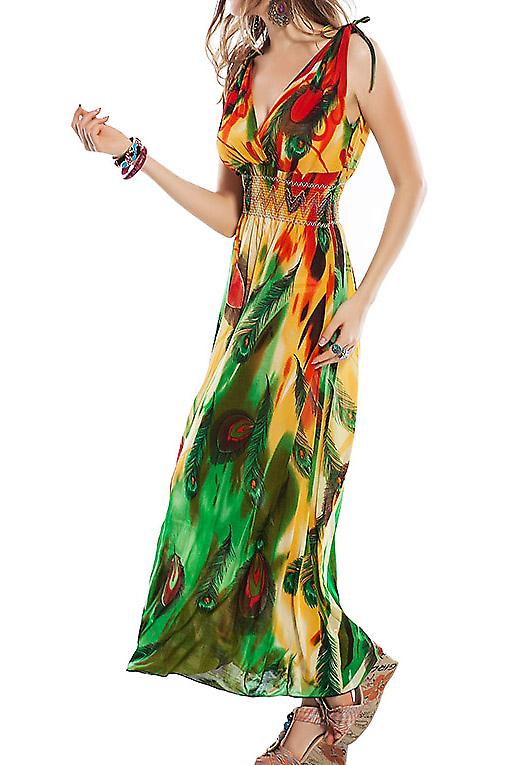 Waooh - Fashion - Long Feather Print Dress reasons
