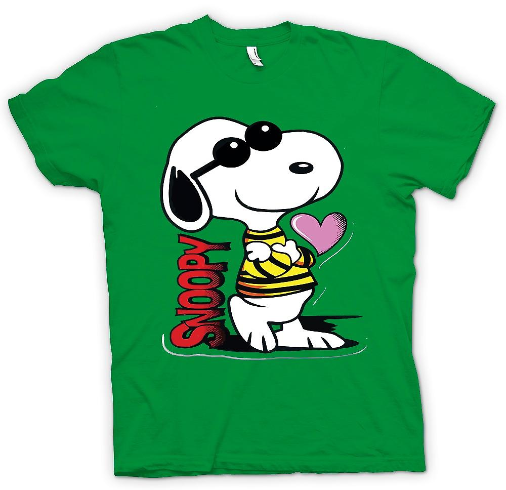 Herren T-Shirt - Snoopy Cartoon With Heart