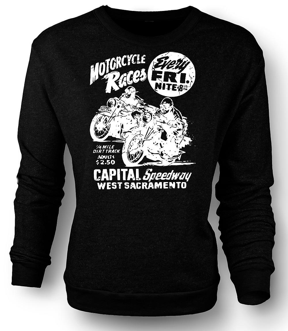 Mens Sweatshirt Classic Bike Motorcycle Race
