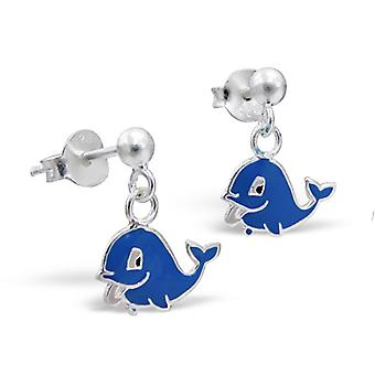 Whale - 925 Sterling Silver + Epoxy Colour Colourful Ear Studs - W12049X