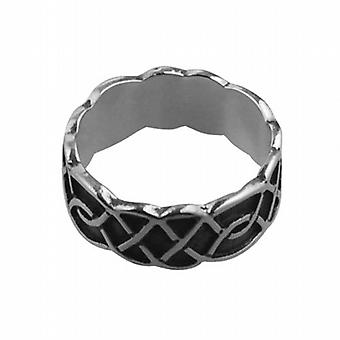 Silver oxidized 8mm Celtic Wedding Ring Size Q
