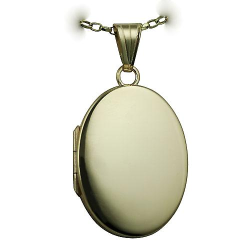 9ct Gold 26x19mm plain flat oval Locket with a belcher Chain 16 inches Only Suitable for Children