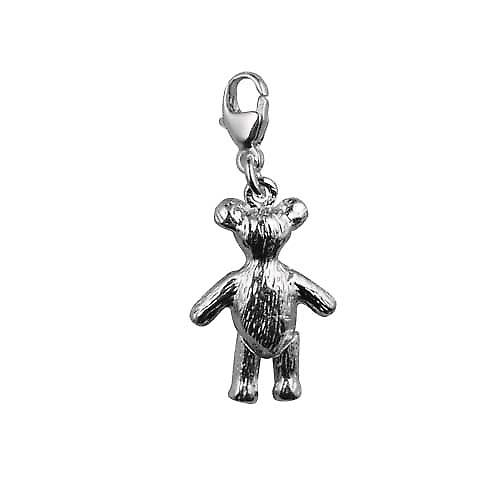 Silver 19x13mm moveable Teddy Bear Charm on a lobster trigger