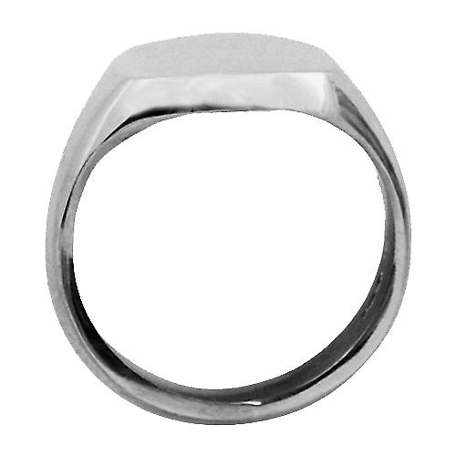 9ct white gold plain cushion signet 13x13mm