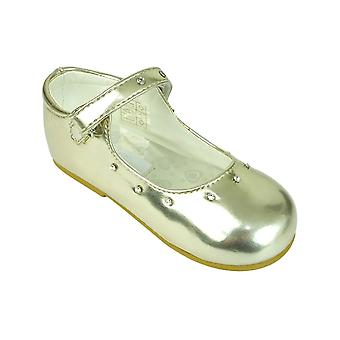 Romano Mary Jane Patent Diamante Strap Girls Party Gold Shoes