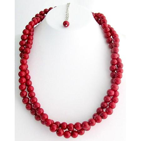 Holiday Gift Red Jewelry Twisted Red Pearl Double strand Necklace