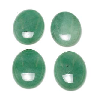 1 x Green Aventurine Flat Back 18 x 25mm Oval 6.5mm Thick Cabochon CA16664-6