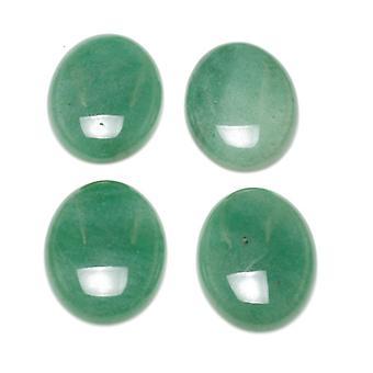 1 x grønne Aventurine Flat tilbake 18 x 25mm ovale 6.5mm tykk Cabochon CA16664-6