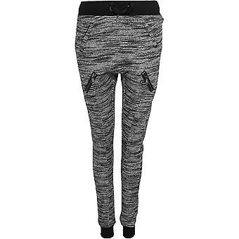 Urban classics ladies fitted sweatpants melange zip