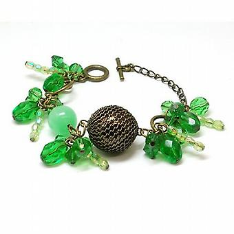 The Olivia Collection Bronzetone & Green Ball Bead Cluster 7