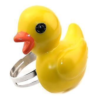 Gele hars gele eend verstelbare ring