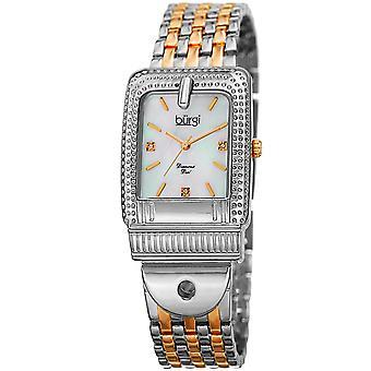 Burgi Women's BUR171TTG Mother of Pearl Diamond Buckle Design Bracelet Watch