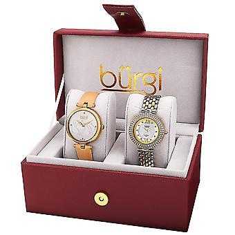 Burgi BUR152YG Diamond Swarovski Leather/Bracelet Watch Set