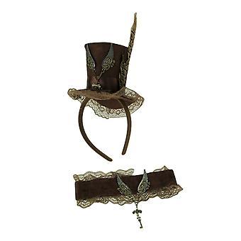 Bruine Steampunk sleutel en vleugels Mini Top Hat hoofdband en choker volwassen kostuum set