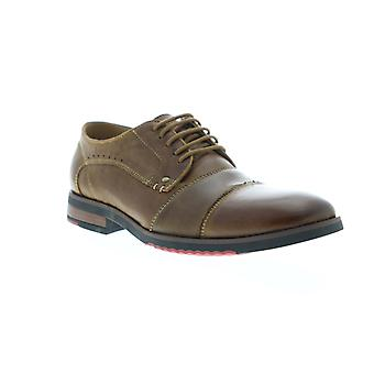 Steve Madden Mallet Mens Brown Leather Casual Dress Lace Up Oxfords Shoes