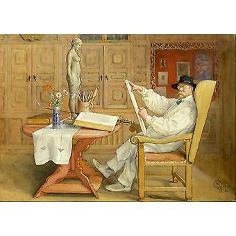 Selvportræt i studiet, Carl Larsson, 60x43cm