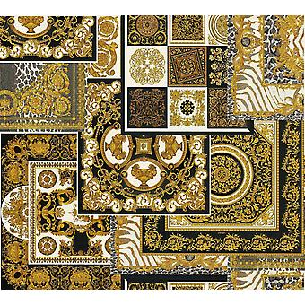 Versace Decoupage Back Gold Wallpaper Baroque Ornament Metallic Paste Wall