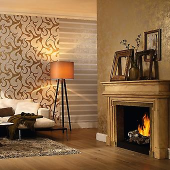 Marburg Wallcoverings Marburg Rae Scroll Damask Pattern Fond d'écran Moderne Embossed Metallic 53142