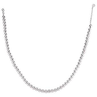 Jewelco London Rhodium Plated Sterling Silver Polished Ball Bead Bracelet