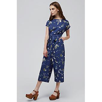 Louche Lison Holiday Print Short Sleeve Tie Waist Jumpsuit Navy