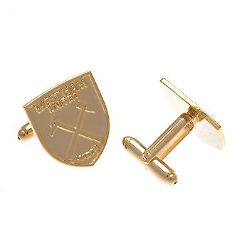 West Ham United FC Gold Plated Crest Cufflinks