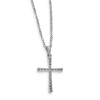 925 Sterling Silver Polished Gift Boxed Spring Ring Platinum-plated Diamond Mystique 18inch Cross Necklace -