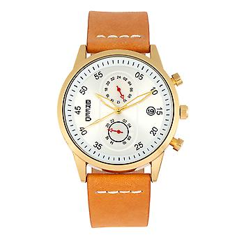 Breed Andreas Leather-Band Watch w/ Date - Gold/Camel
