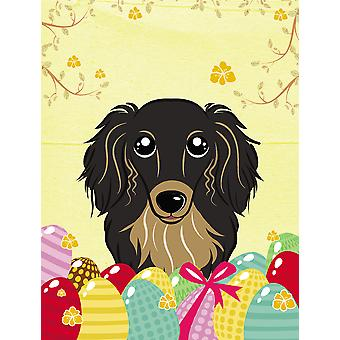 Longhair Black and Tan Dachshund Easter Egg Hunt Flag Canvas House Size BB1895CHF