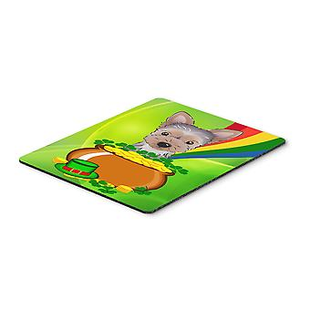 Yorkie Puppy St. Patrick's Day Mouse Pad, Hot Pad or Trivet BB1976MP