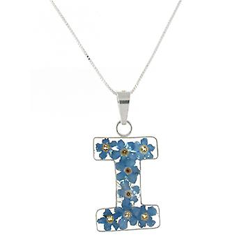 Shrieking Violet Sterling Silver Forget Me Not Flowers I Initial Pendant