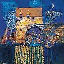 George Birrell print - Mill and Moon, Orkney
