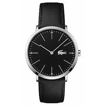 Lacoste Mens Black Leather Strap Black Dial Steel Case 2010873 Watch