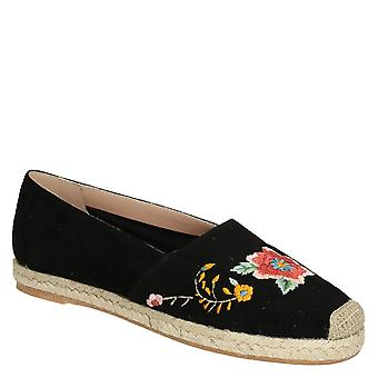 Black suede leather flat espadrilles with floral embroided