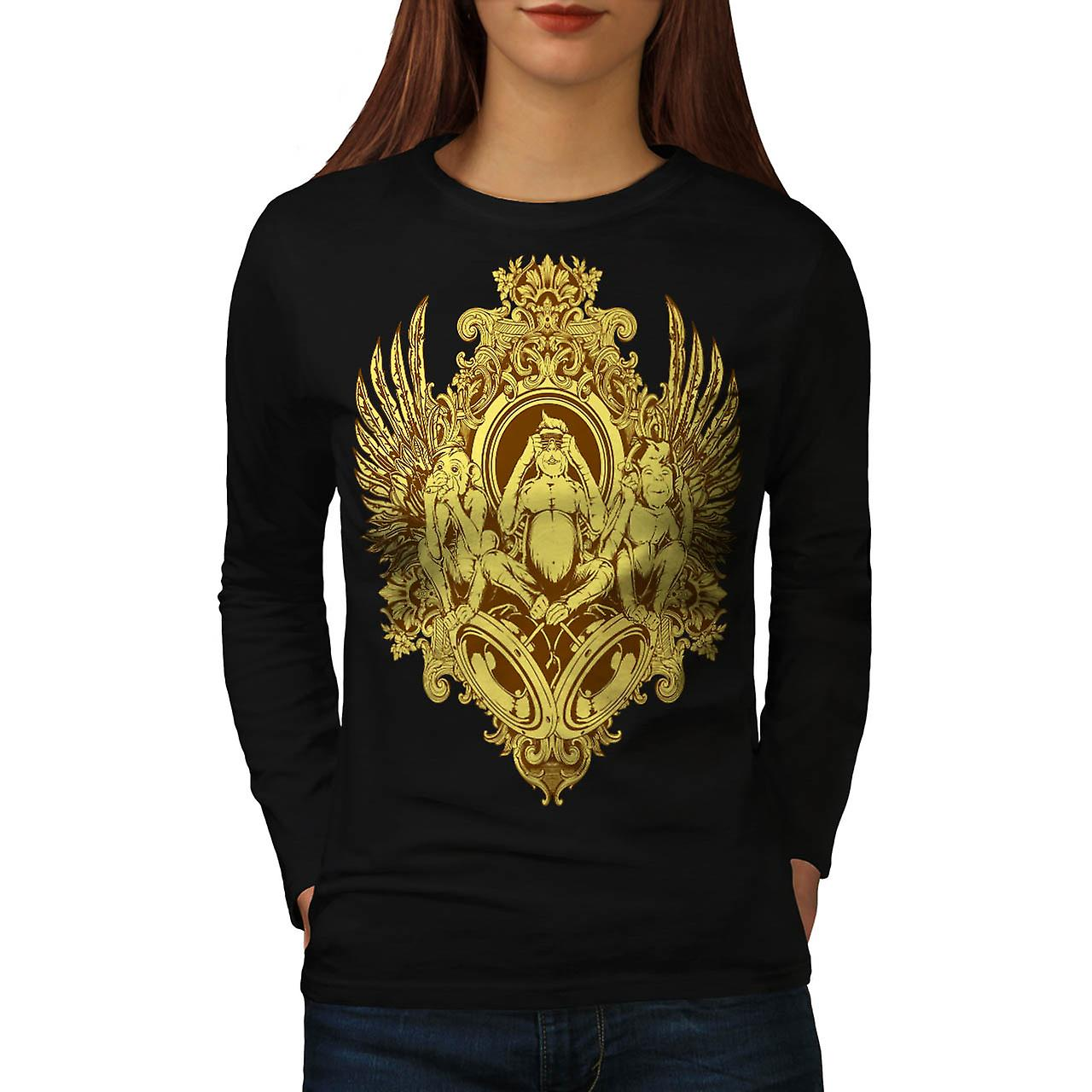 Evil Monkey Thrones 3 Wise Chimp Women Black Long Sleeve T-shirt | Wellcoda