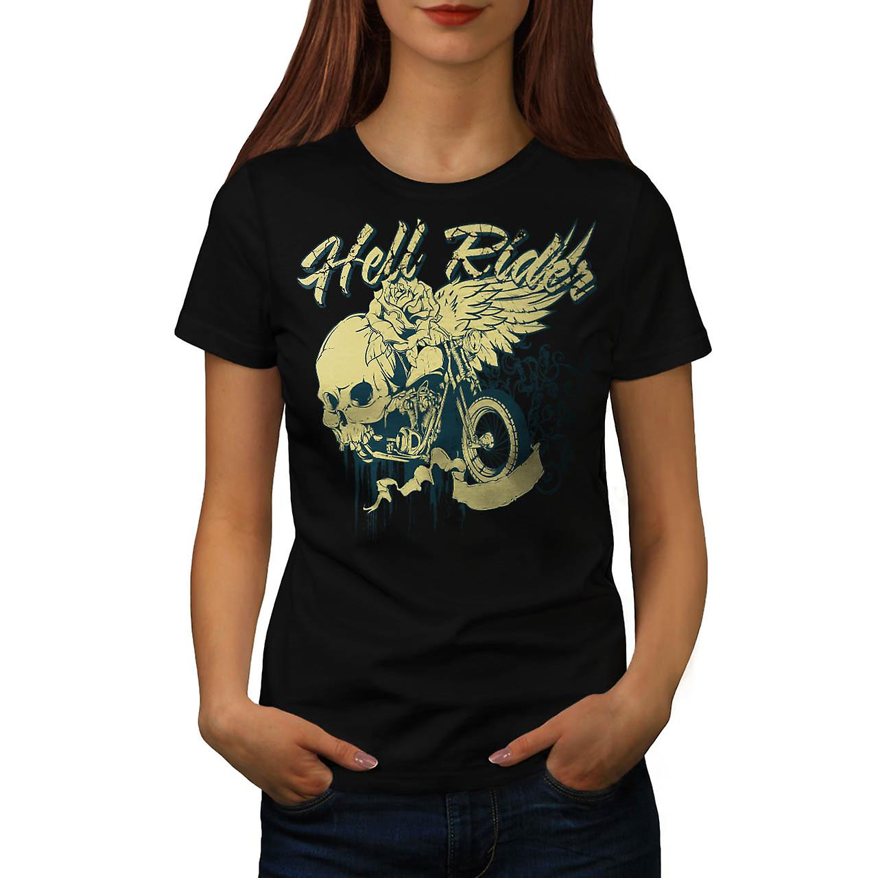 T-shirt nero inferno Rider Biker Skull Rose donne | Wellcoda