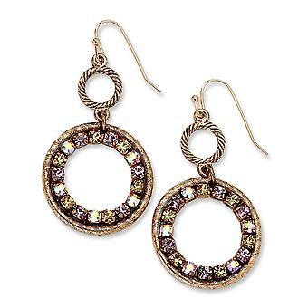 Copper-tone Purple Pink and Yellow Crystal Circle Drop Earrings