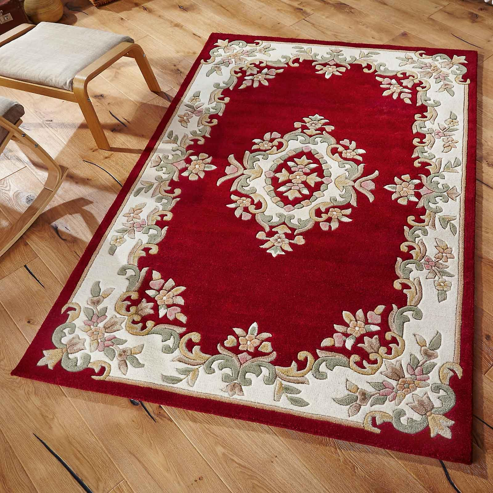 Royal Aubusson Wool Rugs In Red Cream