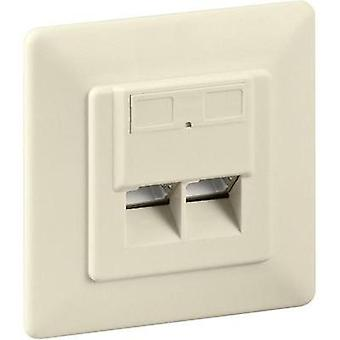 Network outlet Flush mount Insert with main panel and frame CAT 6 Goobay Beige