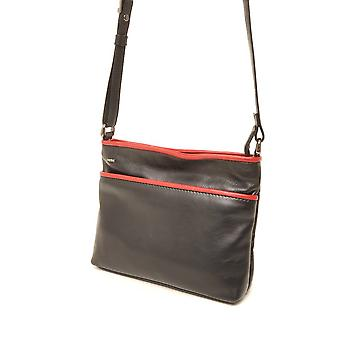 Berba Soft cross-over zipper bag 005-330 black/red