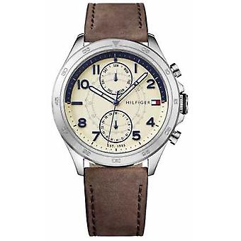 Tommy Hilfiger Mens crème Dial Leather Strap 1791344 Watch