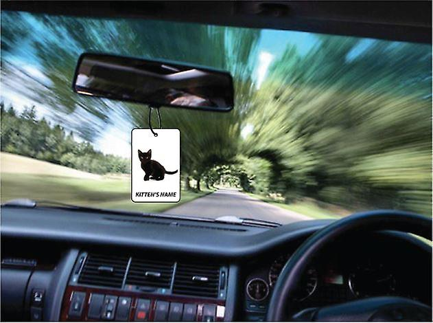 Gepersonaliseerde zwarte Kitten auto luchtverfrisser