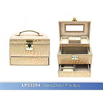 Pelle di coccodrillo di scatola di gioielli Champagne grande stampa con specchio