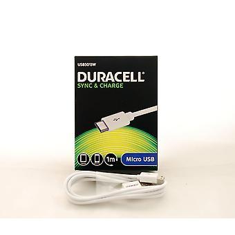 Duracell hvid mikro-USB Sync & afgift 1 meter kabel til Smartphones & tabletter. -USB5013W