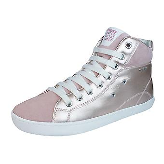 Geox J Kiwi G Girls Leather Trainers / Hi Tops - Rose Gold